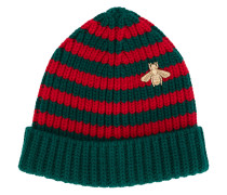 striped beanie with embroidery