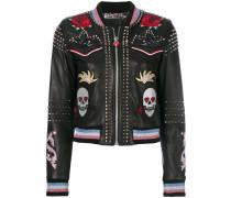studded skull patch jacket