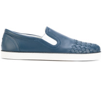 Slip-On-Sneakers mit gewebtem Einsatz