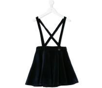 velvet flared skirt with braces
