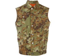 Jeansweste mit Camouflage-Print - men