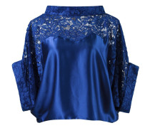lace panel crop blouse