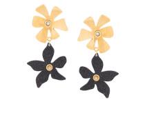 pearl flower charm earrings