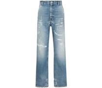 Lockere Jeans in Distressed-Optik