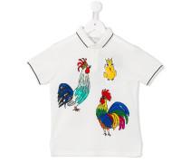 Poloshirt mit Hahnen-Prints