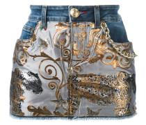 denim tiger jacquard mini skirt - women