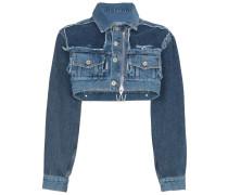 Croppe-Jeansjacke mit Reißverschluss