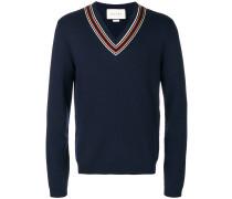 Pullover mit gestreiftem V-Ausschnitt