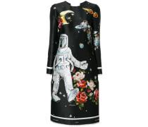 Seidenkleid mit Astronauten-Print