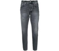 contrast stripe cropped jeans