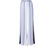 print flared trousers