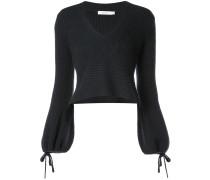A.L.C. Gerippter Cropped-Pullover mit V-Ausschnitt