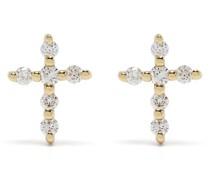 18kt Big Cross Gelbgoldohrringe mit Diamanten