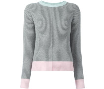 Gerippter Pullover in Colour-Block-Optik