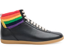 High-Top-Sneakers mit Regenbogenferse