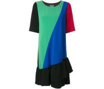 Kleid mit Rüschensaum und Kontrasteinsätzen