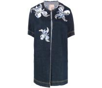 floral motif patches denim jacket