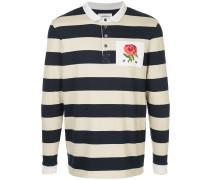 Gestreiftes Poloshirt mit Rosen-Patch