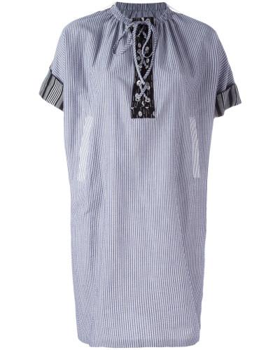 Gestreiftes Kleid mit Schnürung