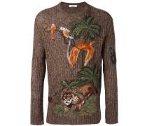 Pullover mit Dschungel-Stickerei