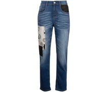 Cropped-Jeans im Patchwork-Look