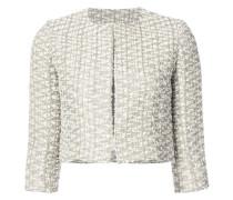 Kragenlose Cropped-Tweed-Jacke