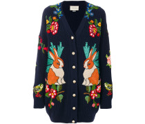 Wollcardigan mit Kaninchenstickerei