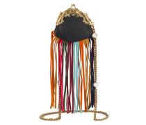 Leather mini frame bag with fringe