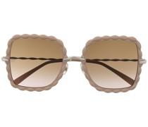 Oversized-Sonnenbrille mit gewelltem Rahmen