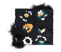 'Flowerland' Schal mit Fuchspelzbesatz