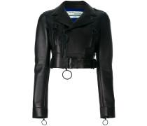 Cropped-Biker-Jacke aus Leder