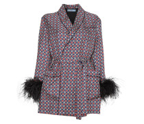 feather tile print jacket