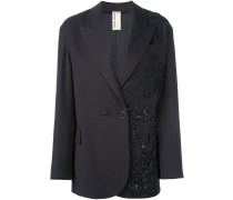 patched lace blazer