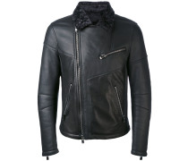 contrast collar biker jacket - men - Leder - M