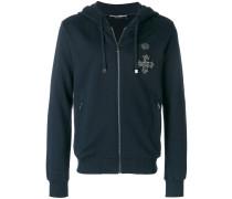 crest patch zip hoodie