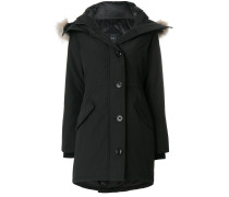 coyote fur trim hooded coat