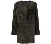 Shearling-Mantel ohne Kragen