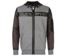 colour-block zip hooded sweatshirt