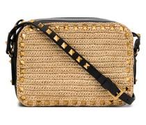 Rockstud straw crossbody bag