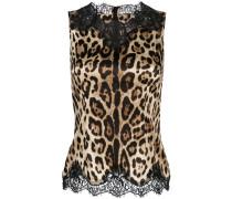 lace trim leopard print vest