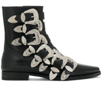 buckle embellished boots