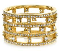 18kt Gelbgold-Stapelring mit Diamanten