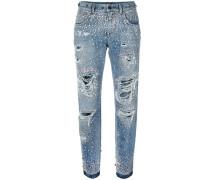 Destroyed-Jeans mit Kristallen
