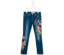Jeans mit floralen Verzierungen
