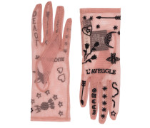 Mesh Gloves With Tattoo Embroidery