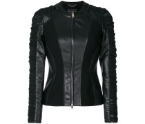 ruched leather jacket