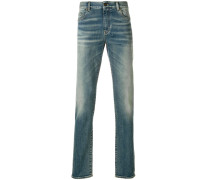 light-wash fitted jeans