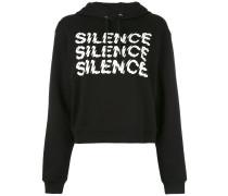 "Cropped-Kapuzenpullover mit ""Silence""-Print"