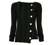 contrast button wide ribbed knit top