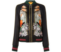 elephant and waterlily print bomber jacket